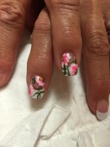 flowered nail art by Kristin for Indulge Salon