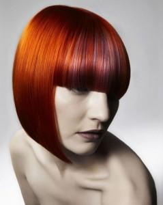 red head on medium length bob haircut