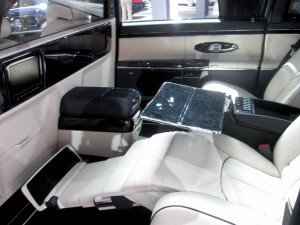 Interior of the Maybach luxury car made by Mercedes