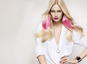 blonde hair with pink accents