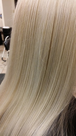 Paula Bauer, York Pa long time client of Kimberly Acworth owner, enjoys her new powdered amethyst color vs the yellow blonde she had before.Indulge Salon