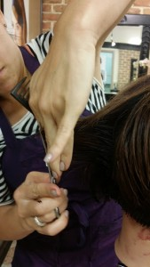 Dawn Bender, stylist with 15 years experience  training on French haircutting system at Indulge Salon, York Pa
