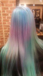 Rainbow hair color back
