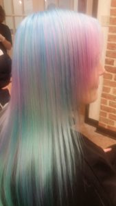 Rainbow pastel hair color