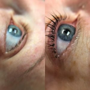 Before and after eyelash lift and tint