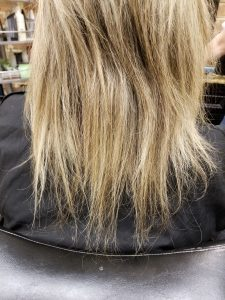 Split ends, broken off hair from pony tails, Indulge Salon York Pa